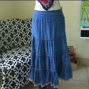 Vintage Boho Western Pleated Tiered Ruffle Skirt